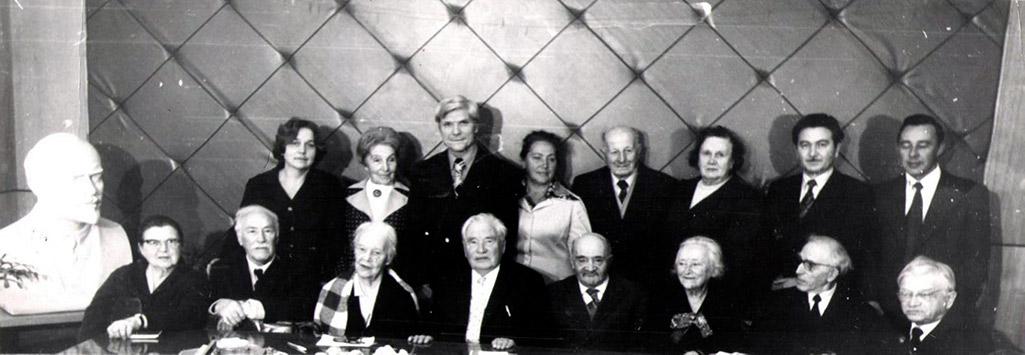 Solemn meeting on the opening of the Museum in 1978.From the left to the right: E.I.Khukharina,L.K.Khotsyanov, Z.A.Volkova, L.S.Bogolepova, A.M.Rashevskaya, N.F.Izmerov, A.A.Letavet, E.I.Vorontsova, B.V.Shafranov, G.A.Beilikhis, M.N.Kogan, E.N.Marchenko, A.A.Kasparov, Y.M.Mirsky, V.M.Pobochin, V.D.Krainfeld.